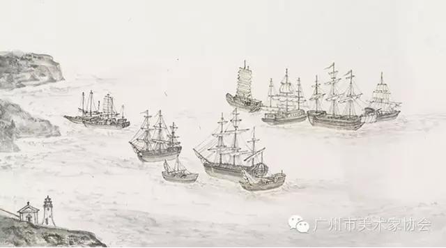 广州建筑群手绘图